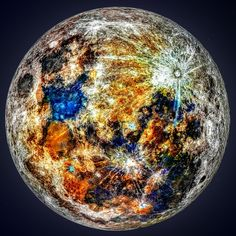 """Andrew McCarthy """"The color was already in that picture, hidden behind the glare of the moon's albedo, and represents the mineral content of our moon"""" Andrew Mccarthy, Albedo, Supermoon Photos, Craters On The Moon, Moon Images, Nasa Images, Moon Art, Trippy, Geology"""