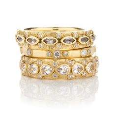 41aa97892 Armenta - Old World Baubles - Stack Rings - Old World yellow-gold stack  bands with white diamonds & white sapphires (Image property of Armenta.