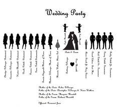 Wedding Party Silhouettes // Wedding, Bride, Bridesmaid