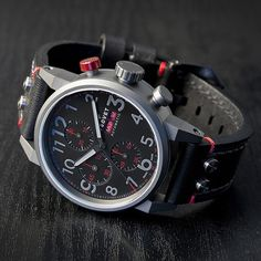 Tsovet is celebrating the 145 wins of the Chip Ganassi Racing Team with a limited edition watch inspired by the team's racing pedigree and signature colors. Limited to 51 pieces worldwide, the watch is housed in a PVD gun metal case with a matte finish with red hits of color on the dial, pusher, and watch strap. Inside is the widely respected Valjoux 7750 movement which will power the watch for 42 hours and backs the day/date and chronograph functionality. Each edition will come in a custom wooden display box which is presented with a book that highlights Chip Ganassi Racing's wins from 1994 to 2011