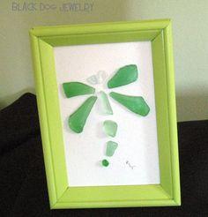 Sea Glass Dragonfly Framed Art on Etsy, $40.00