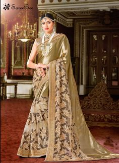 Make the heads turn the moment you costume up in this sort of a charming beige georgette classic designer saree. The amazing attire creates a dramatic canvas with superb embroidered and patch border w...