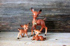 3  soft plastic deer fawn mid-century christmas by umbrellafant