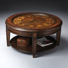 Incroyable Butler Specialty 6047070 Clock Cocktail Coffee Table, Heritage
