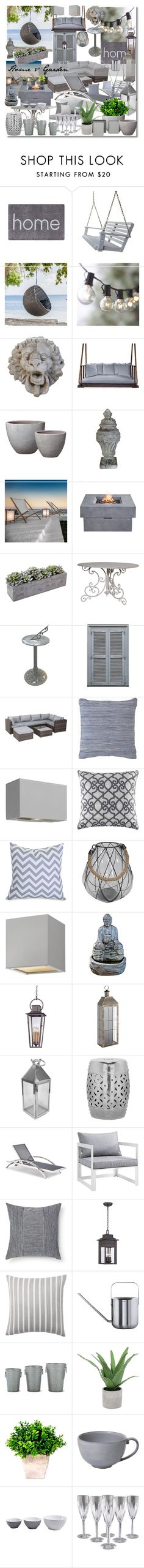 """""""Home & Garden"""" by marionmeyer ❤ liked on Polyvore featuring interior, interiors, interior design, home, home decor, interior decorating, Doormat Designs, Crate and Barrel, Southern Komfort Bedswings and Emissary"""