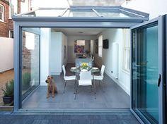 Same width extension with aluminium bi folding doors