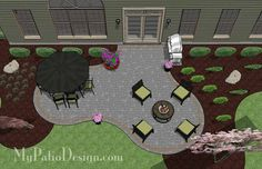The Concrete Paver Patio Design with Pergola features large circular areas for outdoor dining and fire pit or seating. Layouts, how-to's & material list. Concrete Paver Patio, Outdoor Patio Pavers, Hot Tub Patio, Small Backyard Patio, Backyard Patio Designs, Brick Patios, Pergola Patio, Patio Ideas, Outdoor Dining