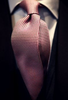 Red White Dot Tie with Dark Suit