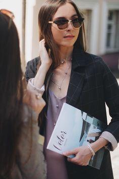 Платье-комбинация на тонких бретельках из шёлка лавандового цвета. Пиджак прямого кроя в крупную серую клетку Moscow, Photo And Video, Sunglasses, Clothing, Instagram, Style, Fashion, Tall Clothing, Moda