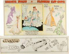 Original Comic Art:Comic Strip Art, Dale Messick Brenda Starr Fashion Cut-Outs Hand-Colored  Sunday Comic Strip Topper Group (Chicago Tribune, 1950... (Total: 2  Original Art)
