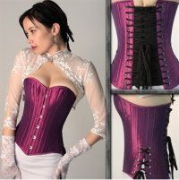 Purple Iridescent Overbust Lace up Corset