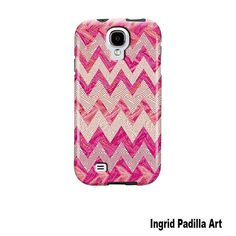 Samsung Galaxy S4 Case Pink Chevron Funky Abstract by ingridsart
