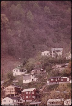 Houses Perched on a Hillside in Logan, West Virginia. Many Homes Are Built on Hilly Ground Because Flat Land in the Valleys Is at a Premium.