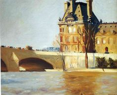 Le Pont Royal: 1909 by Edward Hopper (Whitney Museum of American Art, NYC) - American Realism American Realism, American Artists, Manet, Edouard Vuillard, Toulouse, Edouard Hopper, Pont Royal, Edward Hopper Paintings, Impressionism