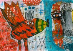 a little birdy told me  - mixed media art print - outsider art - contemporary folk art - expressionist