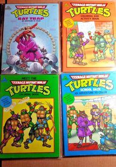 SOLD - 1990 Lot of (4) Random House Teenage Mutant Ninja Turtles Coloring Books TMNT