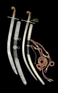 """Ottoman kilij, on the left is the short version known as """"pala""""."""