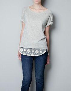 Zara t shirt sweatshirt with lace trim to bottom Posh Party, Host A Party, Zara Tops, Fashion Design, Fashion Tips, Fashion Trends, Lace Trim, Tunic Tops, T Shirts For Women