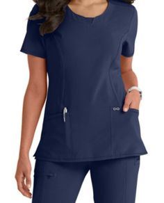 Infinity By Cherokee Solid Round Neck Scrub Tops With Certainty Scrub Tops, Princess Seam, Cherokee, Scrubs, Peplum Dress, Infinity, Shop Now, Cold Shoulder Dress, High Neck Dress