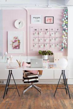 Home Office Desk Decor Ideas . Home Office Desk Decor Ideas . Modern Pink White and Black Home Office Workspace Decor Pink Office Decor, Home Office Decor, Diy Home Decor, Office Ideas, Office Inspo, Office Chic, Office Furniture, Furniture Plans, Kids Furniture