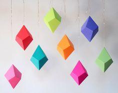 Paleta de papel geométrico DIY ornamentos Set por FieldGuideDesign