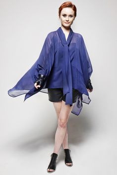Sheer Patch Poncho $370. Get the look at http://goldhawkclothing.com/collections/tops/products/sheer-patch-poncho
