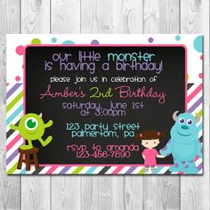 Monsters Inc Birthday Party Invitation & Thank by APartyBoutique, $10.00