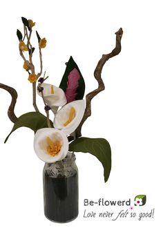 Geweldig boeket met vilten Calla's www.be-flowerd.nl