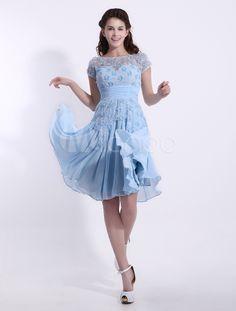 Vestido de damas de honor de chifón de celeste claro con escote en U - Milanoo.com