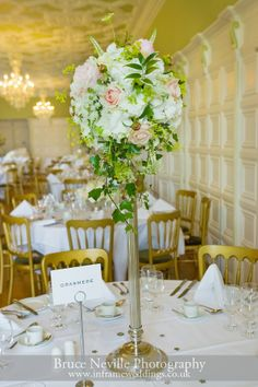 Flowers on a wedding day at Hengrave Hall