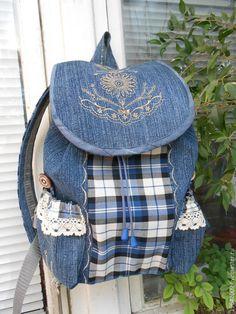 """Купить Рюкзак """"Романтичный """" - рюкзак, джинсовый стиль, джинсовый рюкзак, подарок, оригинальный подарок"""