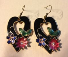 Heart Shaped Cloisonne Earrings with Floral by vintagerepublic1, $18.00