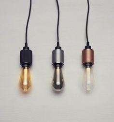 LED Glühbirnen Lampe - Fassungen in Schwarz, Silber und Kupfer