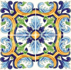 Great colors for tile #waterline in #swimming pool.  Design reproduced from very old #Spanish tile