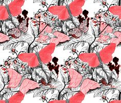 Moth Ridden Botanical ~ Red, Black & White and Tight  ~ by PeacoquetteDesigns on Spoonflower ~ bespoke fabric, wallpaper, wall decals & gift wrap ~ Join PD  ~ https://www.facebook.com/PeacoquetteDesigns #Spoonflower #Peacoquette