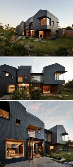 Dark Grey Slate Creatively Covers This Australian Home Dark grey slate tiles covers this modern home and from this angle, you can see how the patterns of the tile installation change depending on the section of the house. Exterior House Colors, Exterior Design, Modern Exterior, Roof Design, Grey Exterior, Exterior Paint, Amazing Architecture, Modern Architecture, Mediterranean Architecture