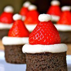 Santa Hat Brownies @keyingredient #cheese #brownies