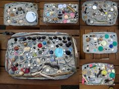Garden tile art.  Line a shoebox lid with a plastic bag and fill with cement.  Create two holes for hanging in the top two corners.  Decorate with shells, stones, lids, beads, plastic creatures.....anything!