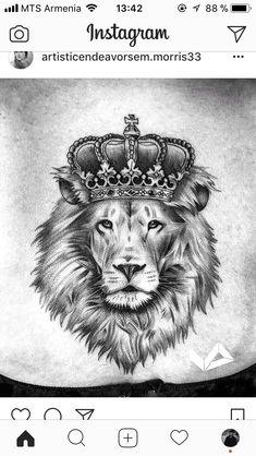 Amazing artist JD Espinoza Jdespinart from Mesa Arizona awesome lion tattoo! - Amazing artist JD Espinoza Jdespinart from Mesa Arizona awesome lion tattoo! Lion Tattoo With Crown, Lion Head Tattoos, Leo Tattoos, Animal Tattoos, Lion Back Tattoo, Mini Tattoos, Crown Neck Tattoo, Small Tattoos, Tattoo Hals