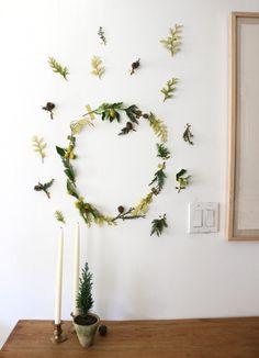 Easy wreath- tape greens on the wall. @nordstromrack #nordstromrack