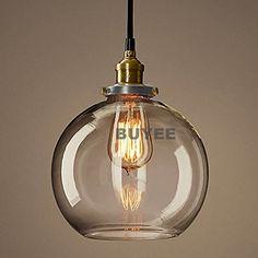 Buyee Klassiker Industrie Loft Metal Glas kronleuchter Hängeleuchte Pendelleuchte moderne hängeleuchten (Runde schwarz Kronleuchter-Lampe Funnel)