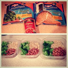 "@sambaby91's photo: ""Mini meal prep before bed! 1/2 cup brown rice, 1 cup broccoli, 1/2 cup organic pinto beans. Just under 250 calories for each meal!"""