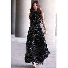 Fashion O neck Tank Sleeveless A Line Ankle Length Black Chiffon Dress_Dresses_Womens Clothing_Cheap Clothes,Cheap Shoes Online,Wholesale Shoes,Clothing On lovelywholesale.com - LovelyWholesale.com