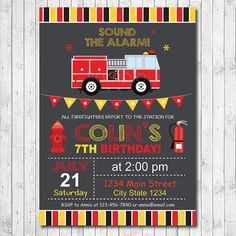 Firetruck Birthday Invitation, Firetruck Invite, Fire truck Invitation, Fire truck Party, Chalkboard, Digital printable Invitation by funkymushrooms on Etsy https://www.etsy.com/listing/237389131/firetruck-birthday-invitation-firetruck