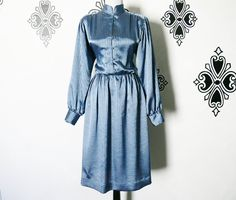 Vintage 80s Striped Blue Sateen Dress M High Collar Pirate Sleeves Knee Length by PopFizzVintage on Etsy