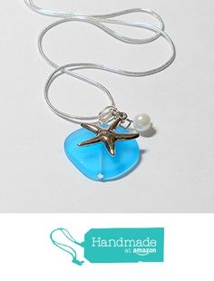 Aqua blue sea glass silver necklace, tropical jewelry with sterling silver plate chain, silver starfish and pearl by BethExpressions Beach Wedding Jewelry, Beach Jewelry, Sea Glass Jewelry, Aquamarine Wedding, Aqua Wedding, Starfish Necklace, Blue Necklace, Turquoise Jewelry, Aqua Blue