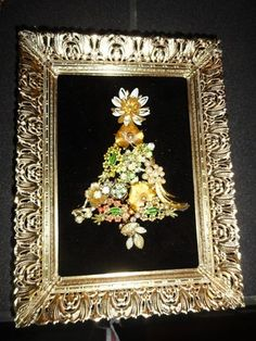 Flowery vintage rhinestone jewelry art Christmas tree in vintage frame 8.5 x 6.5