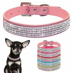 Bling Rhinestones PU Leather Dog Collars for Chihuahua