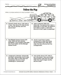 Follow the Map - Solving Word Problems Using Subtraction