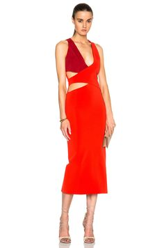 Dion Lee Belted Harness Dress in Vermillion | FWRD